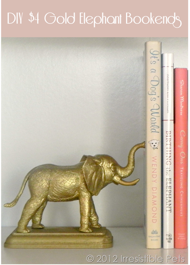 DIY Gold Elephant Bookends Instructions