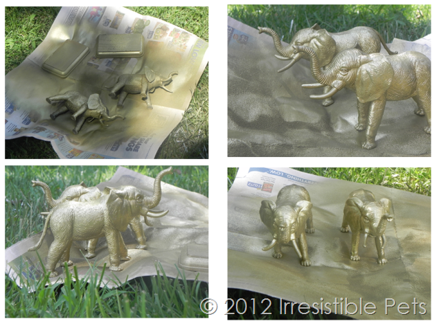 DIY $4 Gold Elephant Bookends - Spraypaint