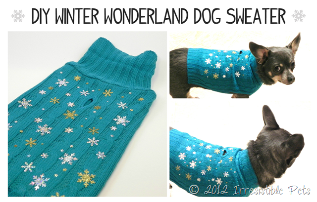 DIY Winter Wonderland Dog Sweater via IrresistiblePets.net for Facebook