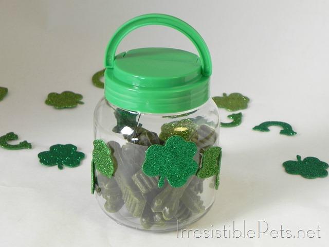 DIY St Patricks Day Pet Treat Jar via IrresistiblePets.net