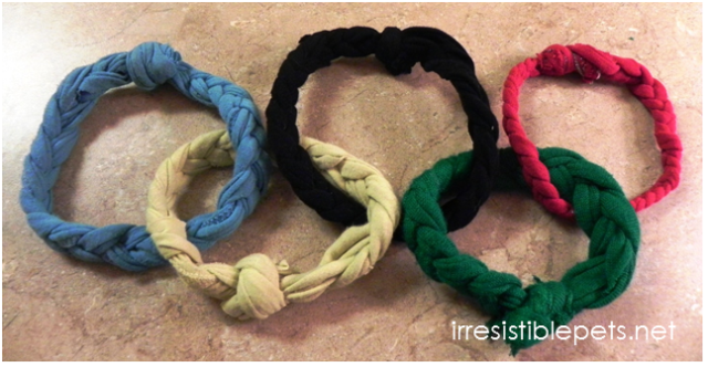 DIY Olympic Rings Dog Toy Final
