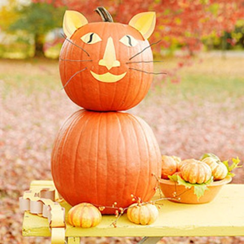 Howl o ween free pet pumpkin carving patterns ideas for Pumpkin kitty designs
