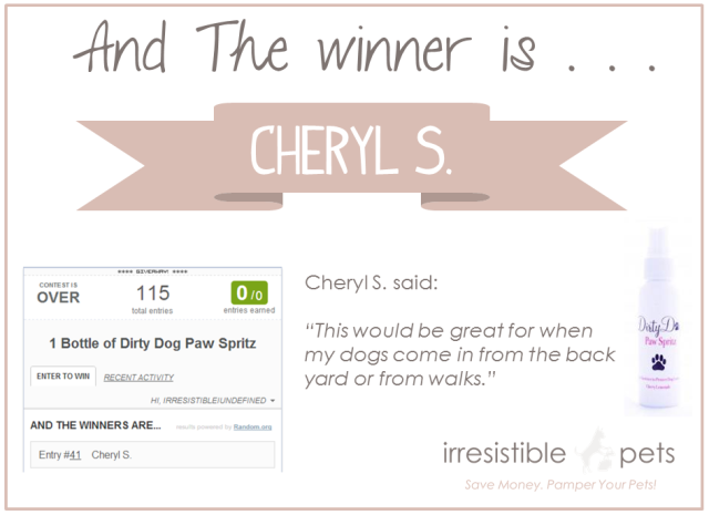 Dirty Dog Paw Spritz Giveaway Winner
