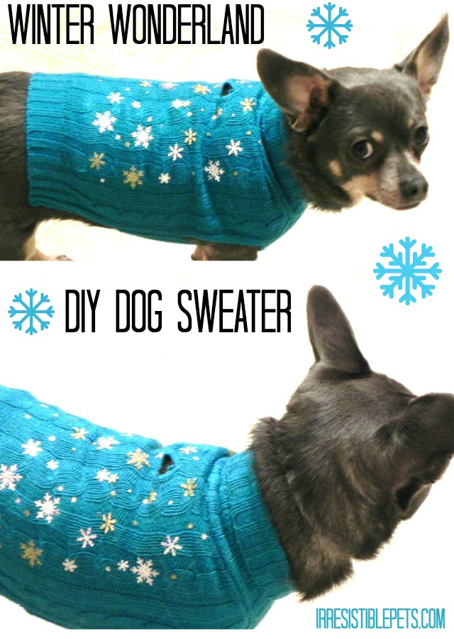 Winter Wonderland DIY Dog Sweater by IrresistiblePets.com