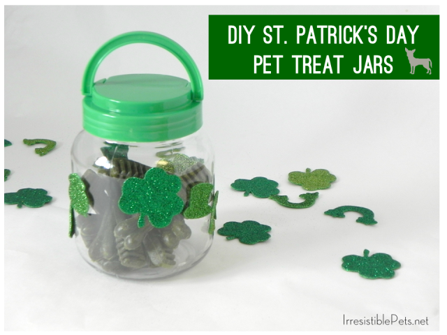 DIY St Patrick's Day Pet Treat Jar via IrresistiblePets.net