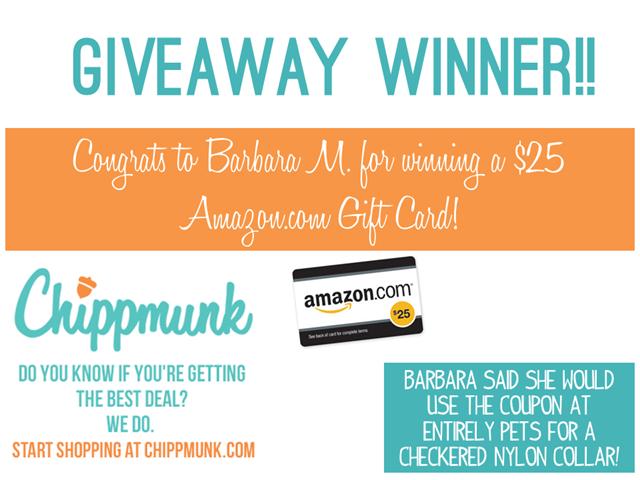 Chippmunk Giveaway Winner