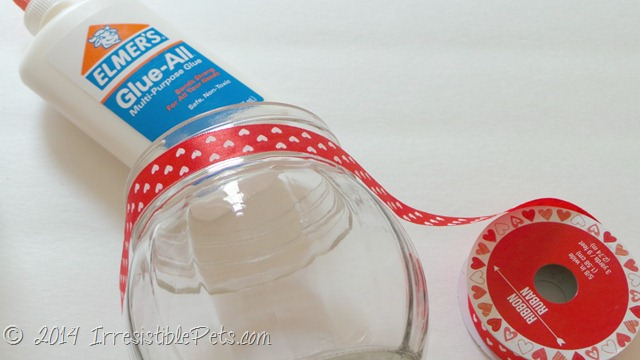 DIY Valentine's Day Dog Treat Jar with Ribbon