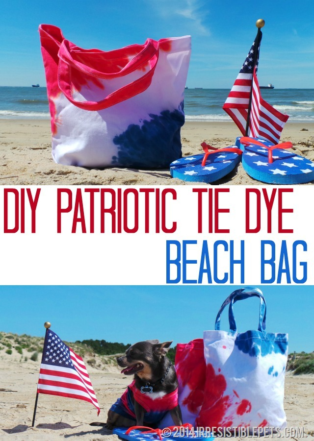 DIY Patriotic Tie Dye Beach Bag by IrresistiblePets.com