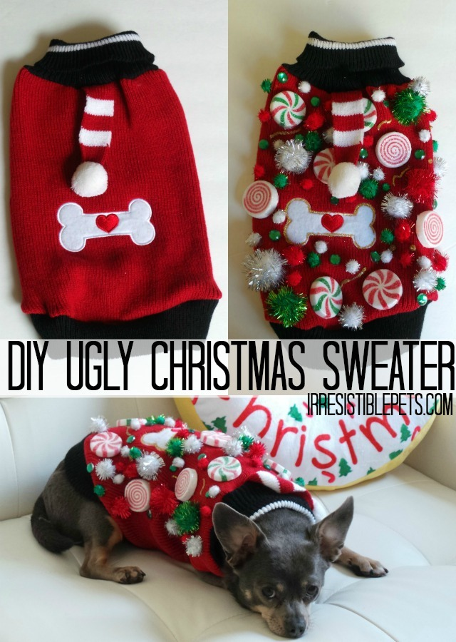 DIY Ugly Christmas Sweater for Dogs by IrresistiblePets.com
